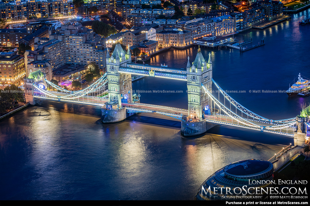 Aerial of London's Tower Bridge at night