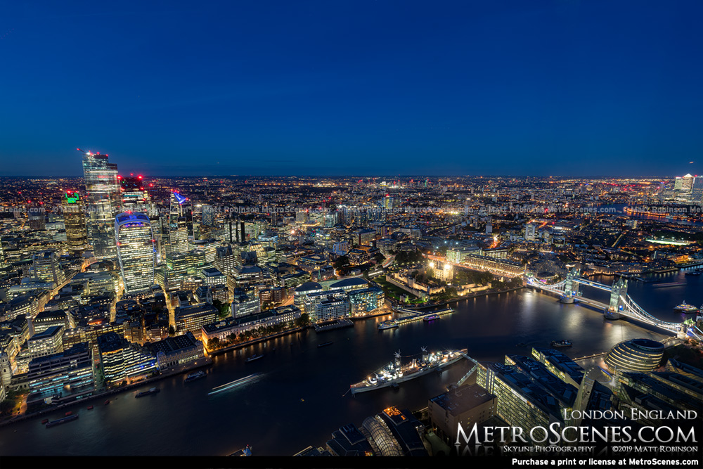 River Thames and City of London at night