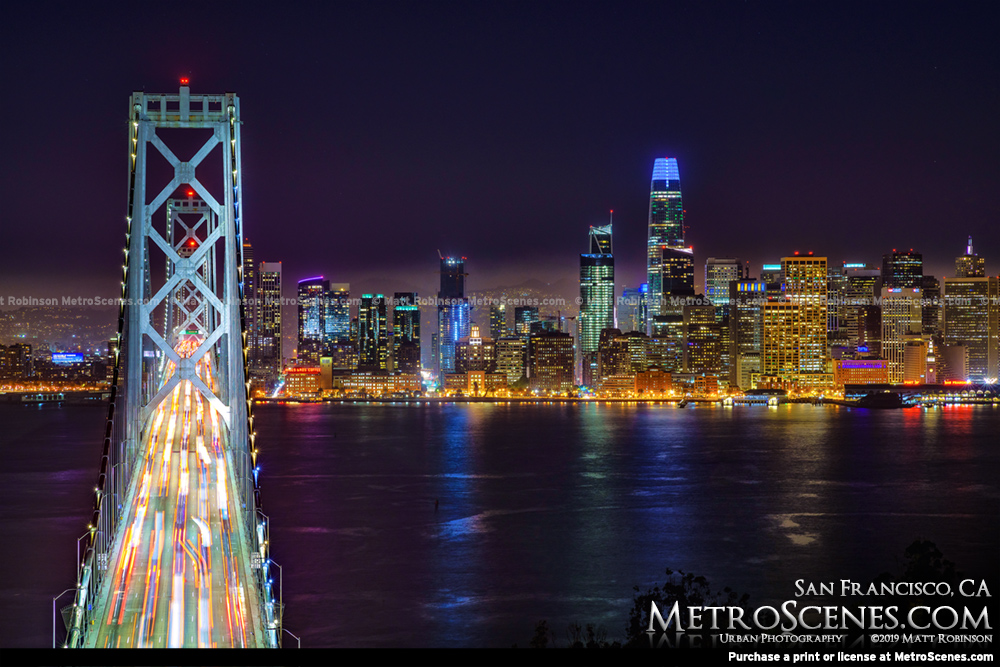 Bay Bridge and San Francisco Skyline at night from Yerba Buena Island