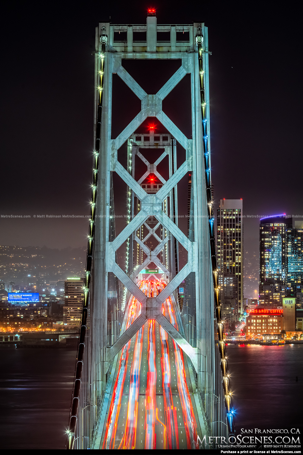 Looking down the Bay Bridge at night from Yerba Buena Island