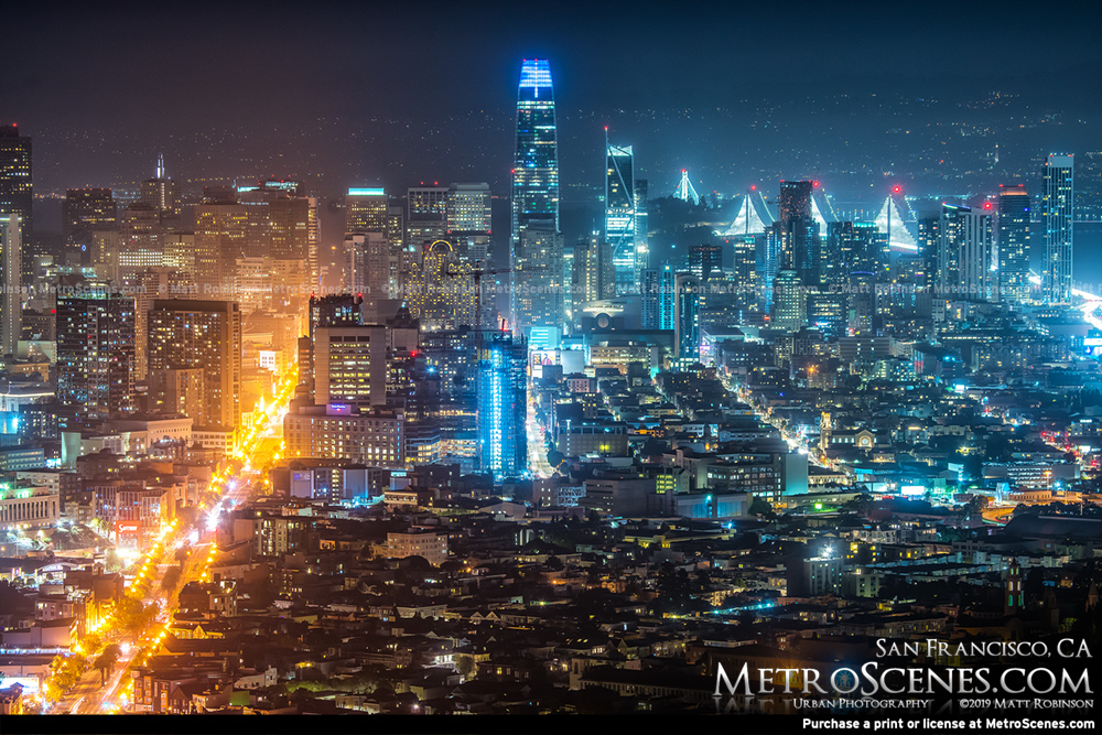 San Francisco at night 2019 from Twin Peaks