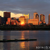 Sunset reflections on the downtown Boston