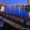 Boston skyline at night from the BU Bridge